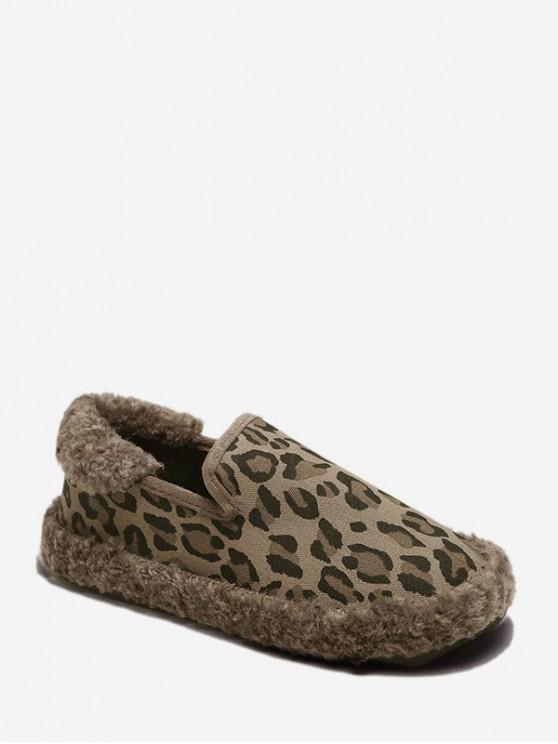 trendy Leopard Print Slip On Fuzzy Flat Shoes - KHAKI EU 36
