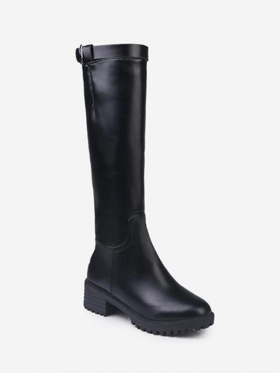 扣帶低跟皮革膝蓋高筒靴 - 黑色 歐盟43