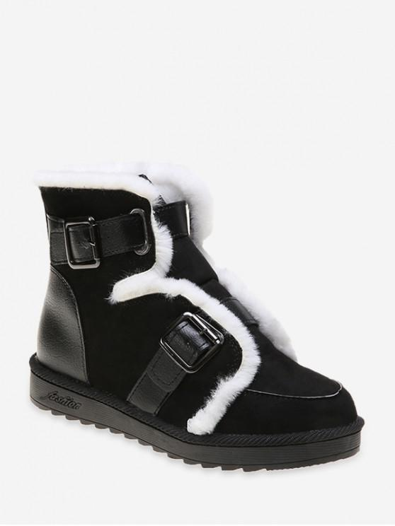 trendy Dual Buckle Ankle Snow Boots - BLACK EU 40