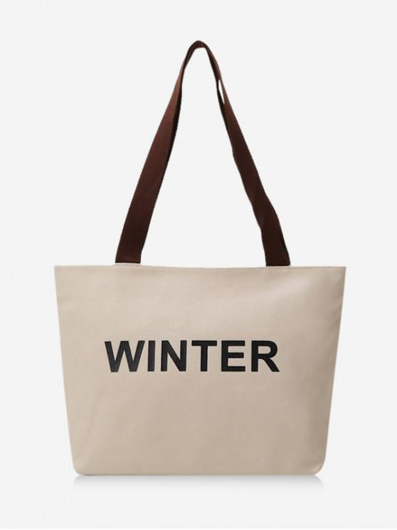 buy Winter Graphic Large Capacity Canvas Shoulder Bag - WARM WHITE