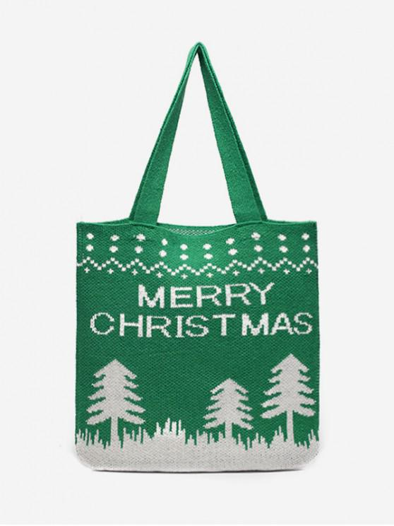 ladies Merry Christmas Printed Knitted Shoulder Bag - CLOVER GREEN