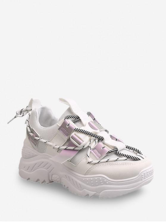 lady Clip Buckle Color-blocking Dad Sneakers - WHITE EU 36