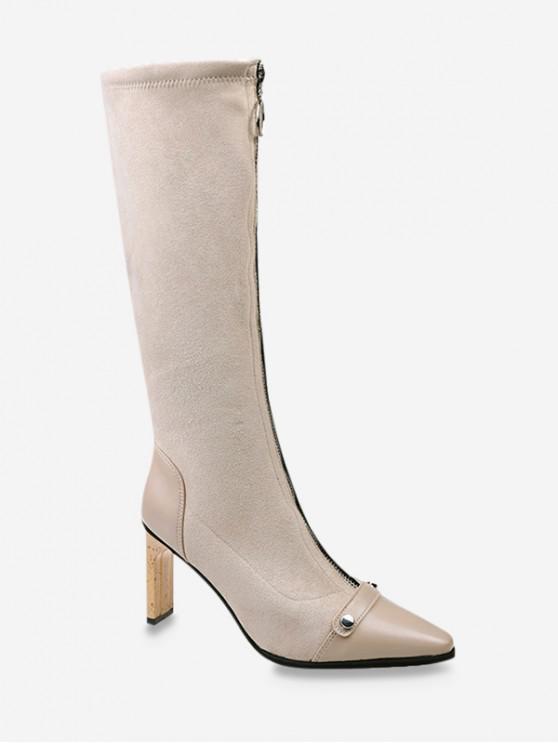 shops O-ring Zip High Heel Pointed Toe Boots - BEIGE EU 39