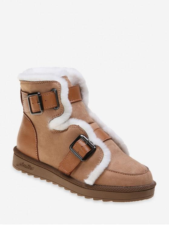 fancy Dual Buckle Ankle Snow Boots - BROWN EU 36