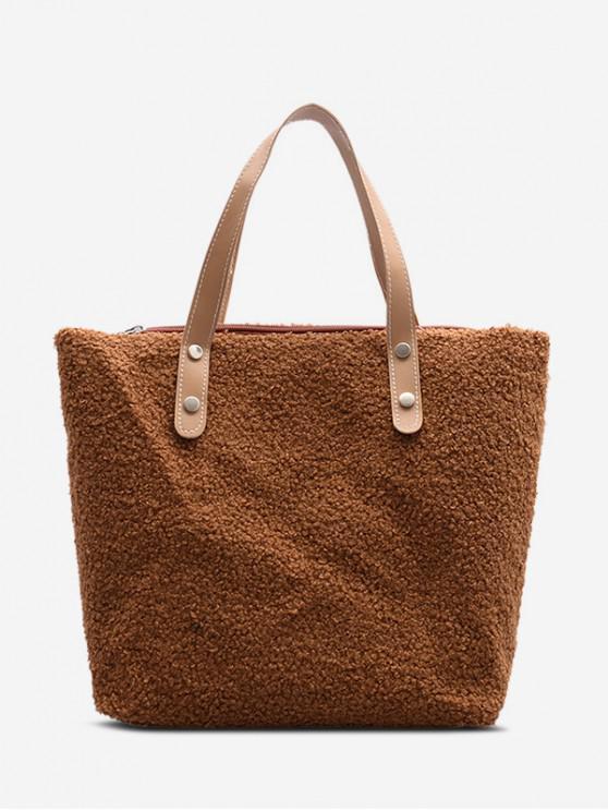 unique Plush Big Tote Bag - LIGHT BROWN