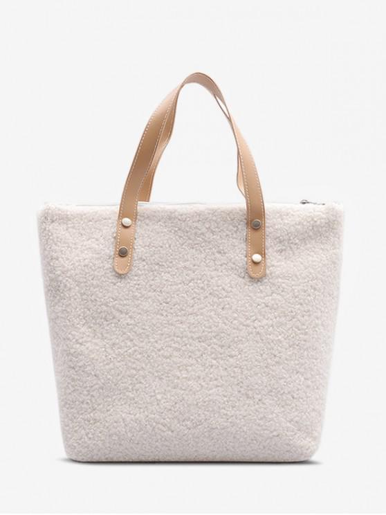 毛絨大手提包 - 天然白