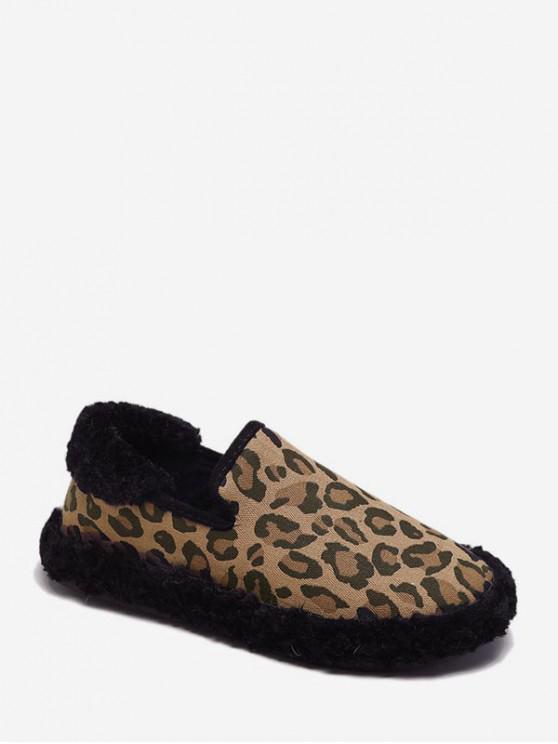 shop Leopard Print Slip On Fuzzy Flat Shoes - BLACK EU 40