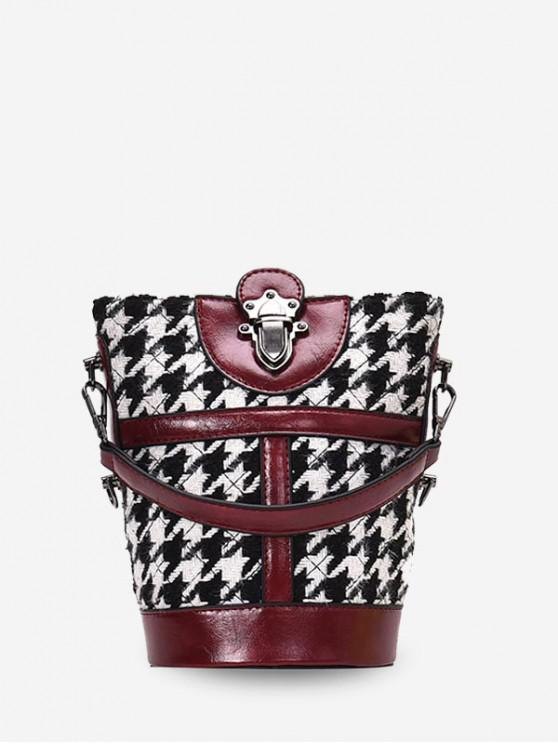 trendy Houndstooth Print Leather Trim Bucket Bag - RED WINE