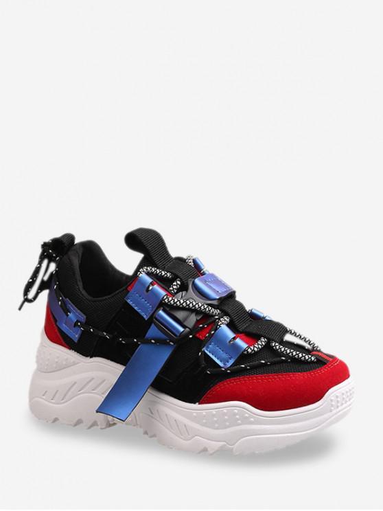chic Clip Buckle Color-blocking Dad Sneakers - BLACK EU 35