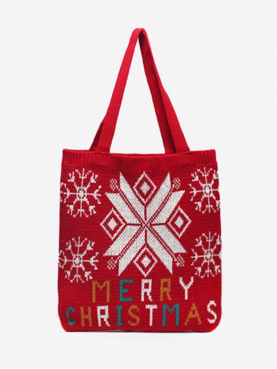 聖誕快樂印花針織肩包 - 桃花心木
