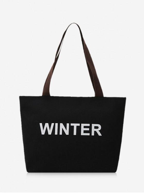 sale Winter Graphic Large Capacity Canvas Shoulder Bag - BLACK