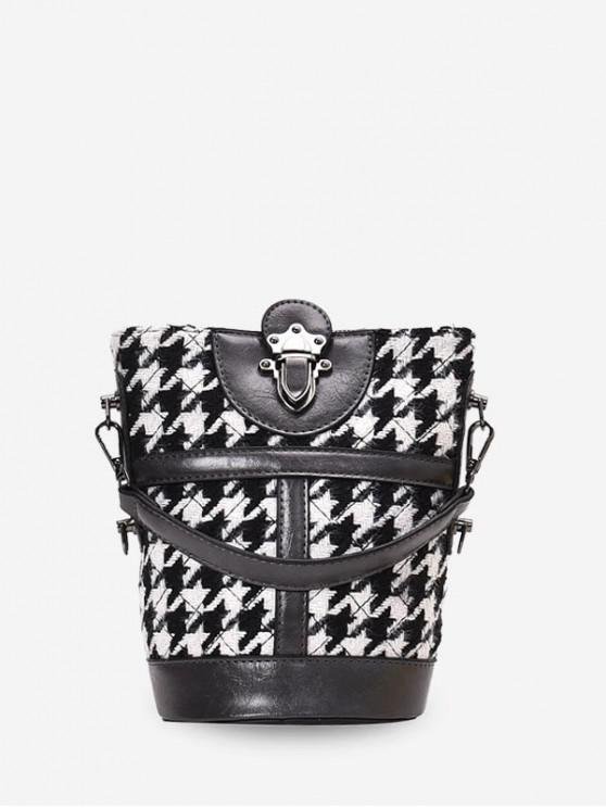 affordable Houndstooth Print Leather Trim Bucket Bag - ASH GRAY