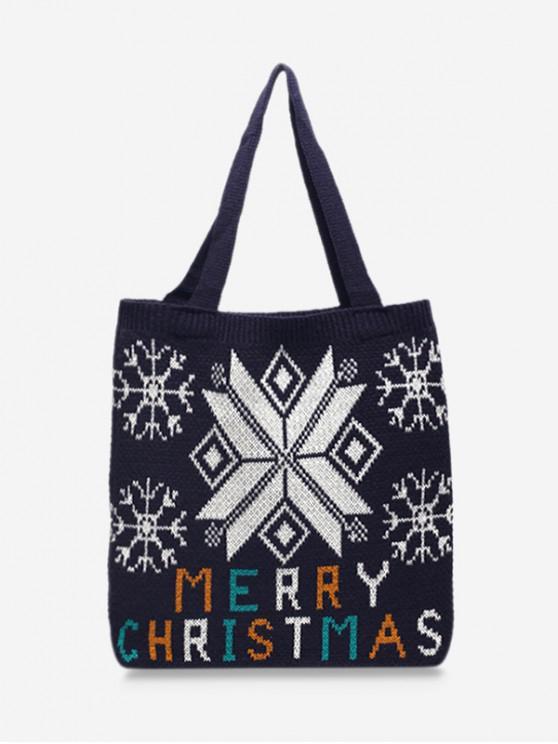 聖誕快樂印花針織肩包 - 黑色