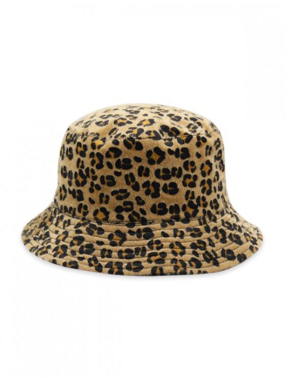 ladies Leopard Faux Fur Bucket Hat - CARAMEL
