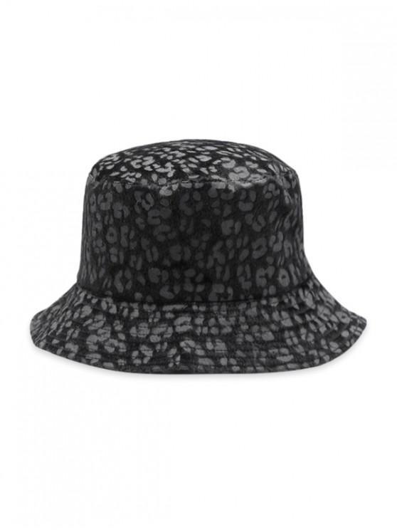 lady Leopard Faux Fur Bucket Hat - BLACK