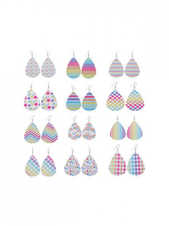 best 12Pairs Rainbow Color Drop Earrings Set - MULTI