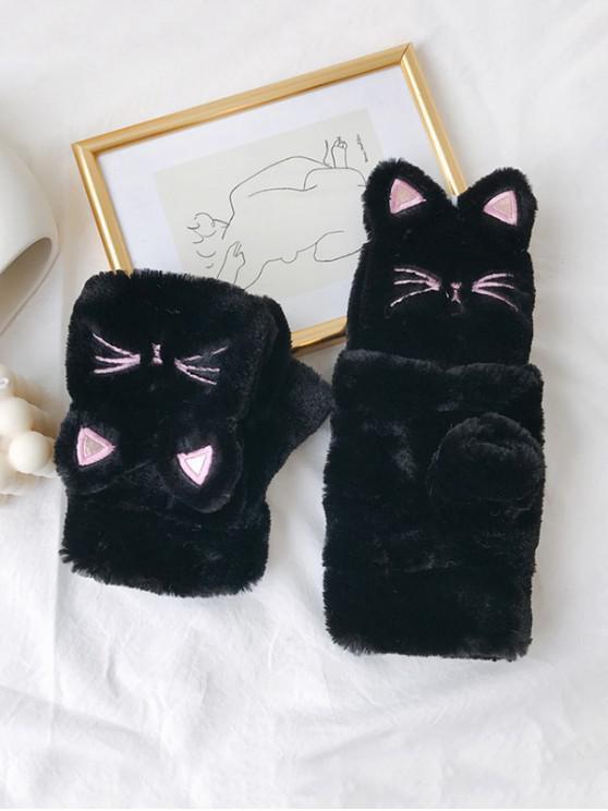 new Cat Faux Fur Fingerless Mitten Gloves - BLACK
