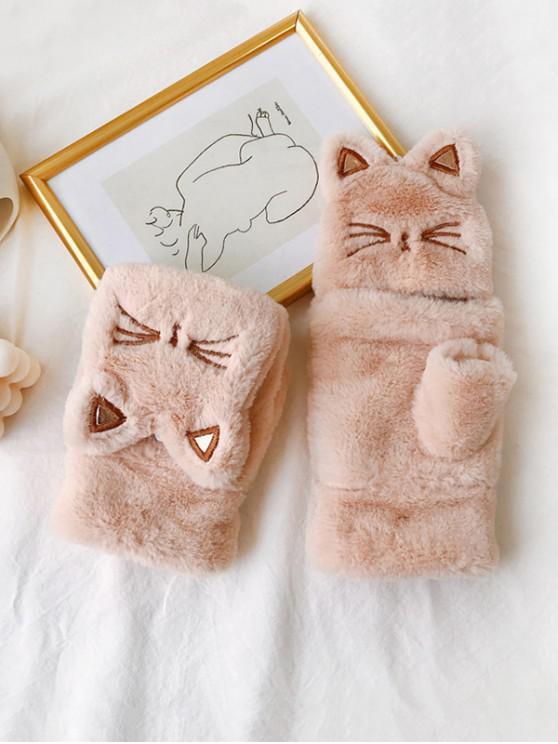 hot Cat Faux Fur Fingerless Mitten Gloves - APRICOT