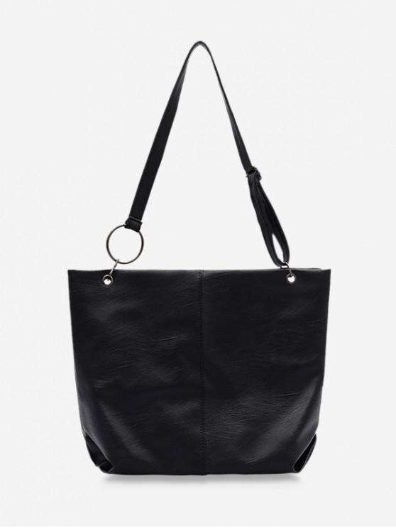outfit Soft Leather Adjustable Strap Sling Bag - BLACK