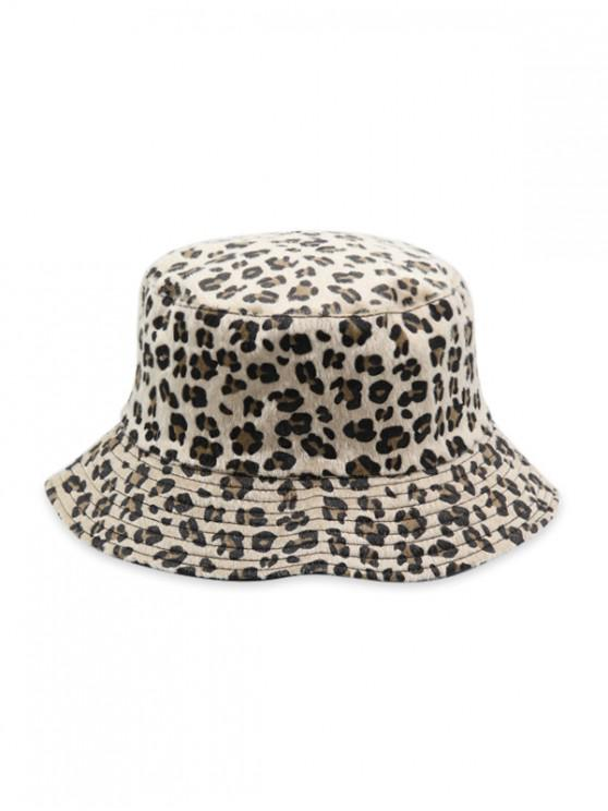 shop Leopard Faux Fur Bucket Hat - WARM WHITE