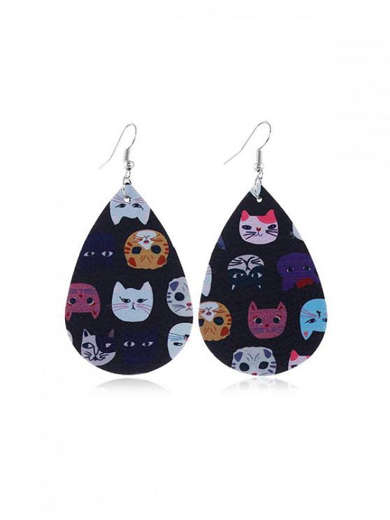 fashion Animal Print Leather Teardrop Earrings - MULTI-B