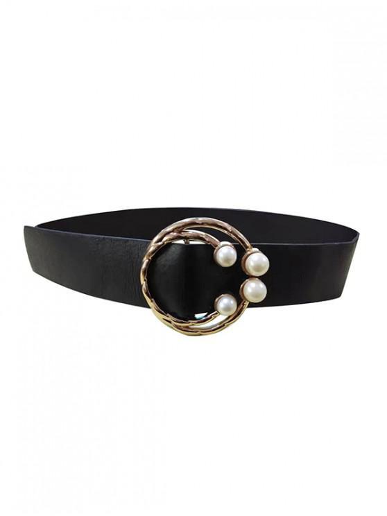珍珠圓扣細腰帶 - 黑色