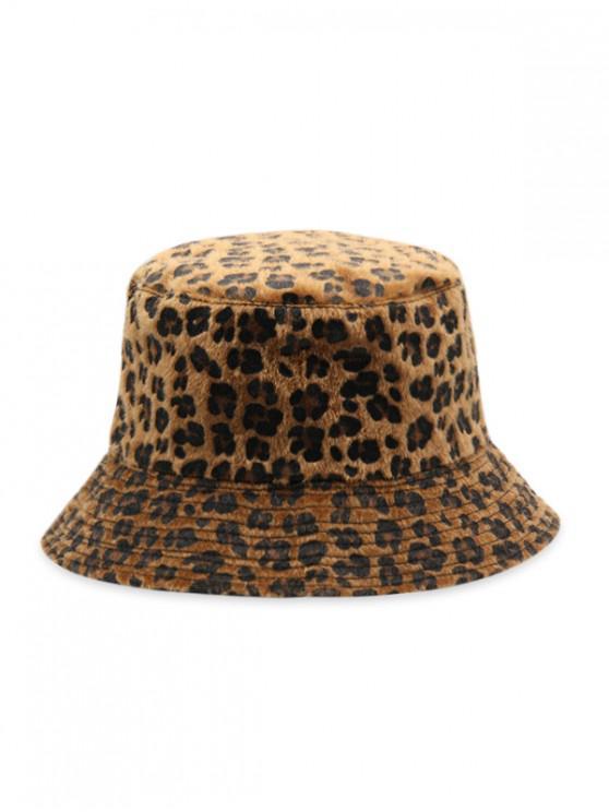 fancy Leopard Faux Fur Bucket Hat - BROWN