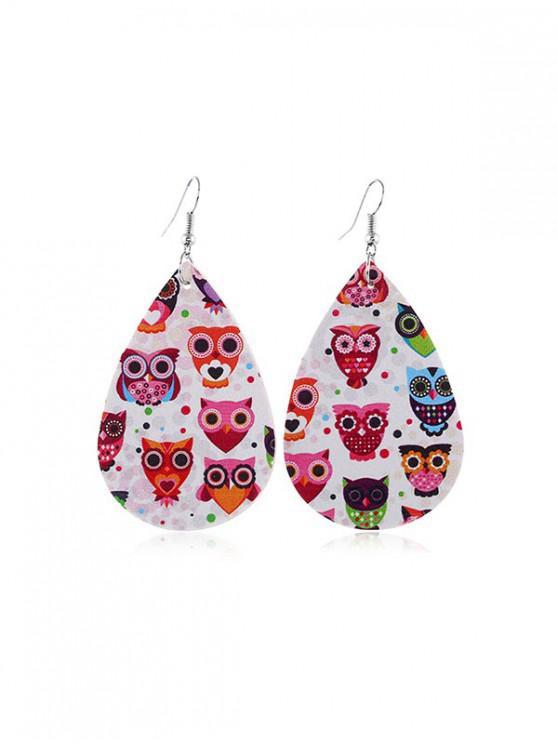 affordable Animal Print Leather Teardrop Earrings - MULTI-A