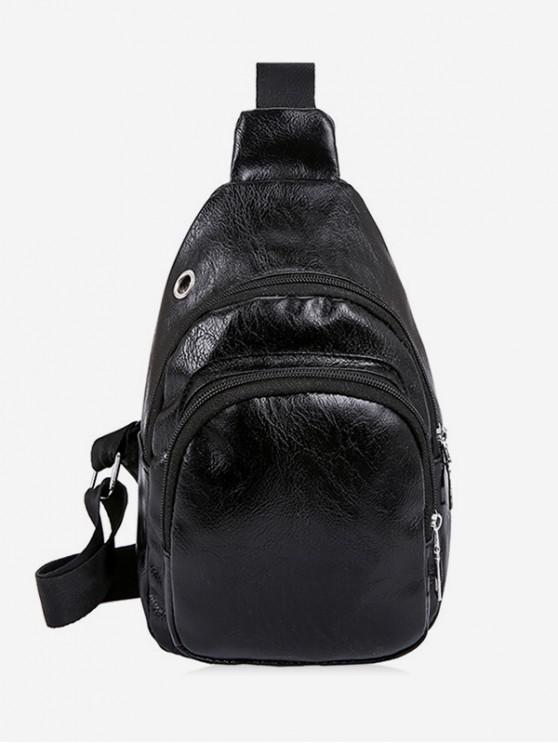 womens Plain Crinkle PU Leather Chest Bag - BLACK