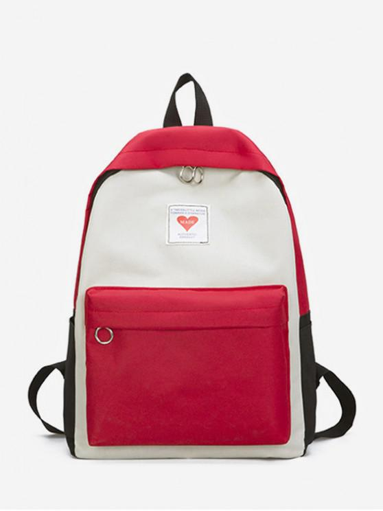 ladies Contrast Color Large Capacity College Backpack - ROSSO RED