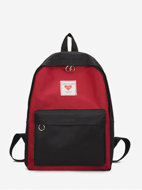 lady Contrast Color Large Capacity College Backpack - BLACK