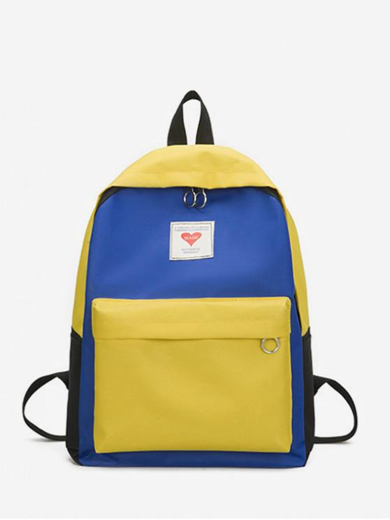 best Contrast Color Large Capacity College Backpack - SUN YELLOW