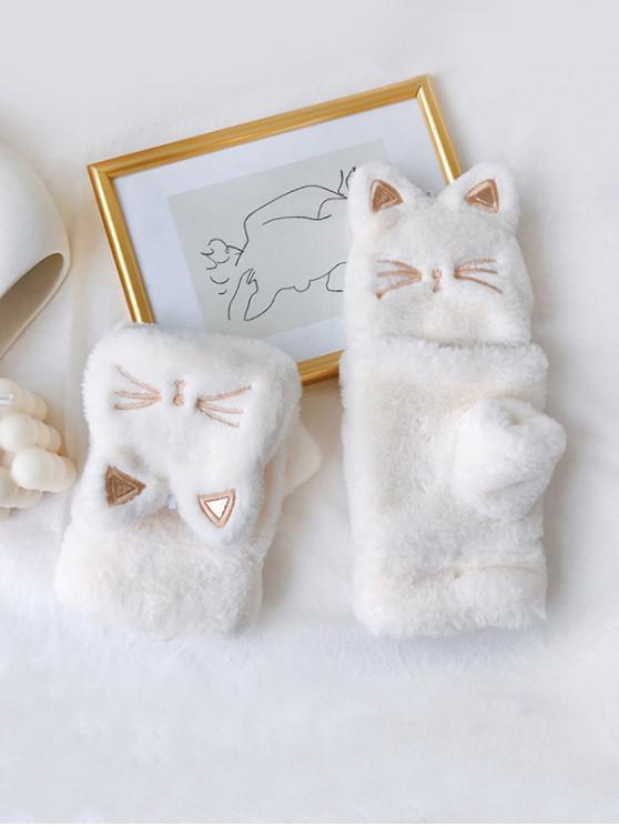 猫フェイクファー指なしミトン手袋 - 白