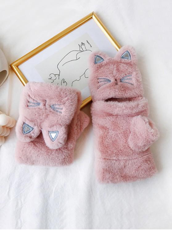 قفازات القط فو الفراء أصابع القفاز - زهري