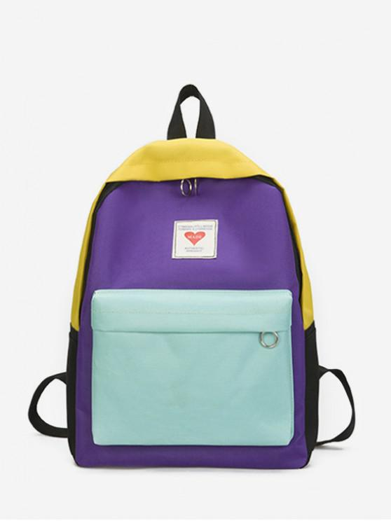 trendy Contrast Color Large Capacity College Backpack - PURPLE SAGE BUSH
