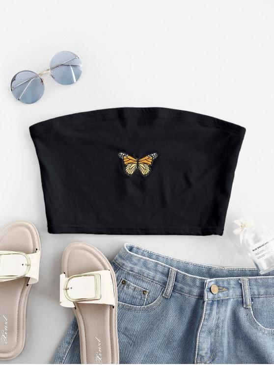 womens Butterfly Embroidered Crop Strapless Top - BLACK L