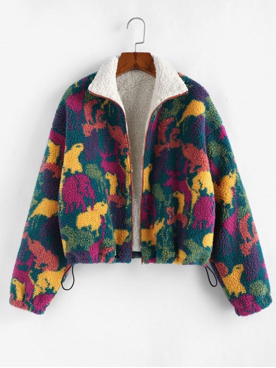 lady Animal Drop Shoulder Teddy Jacket - MULTI XL