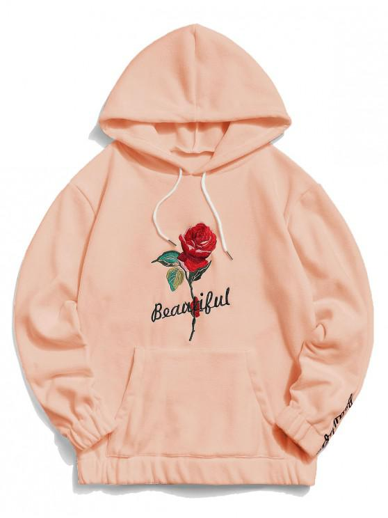 trendy Rose Letter Embroidered Hoodie - DEEP PEACH 2XL