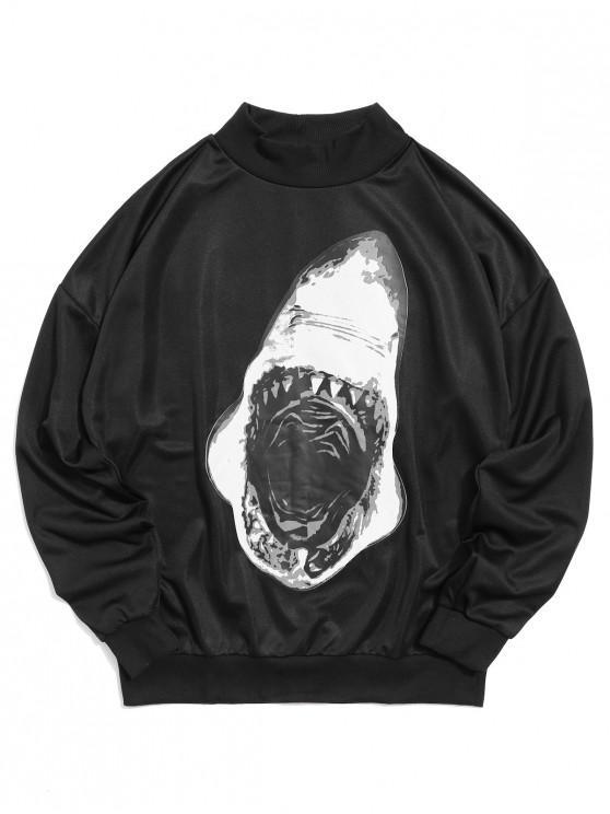 trendy Shark Mouth Print Casual Pullover Sweatshirt - BLACK 2XL