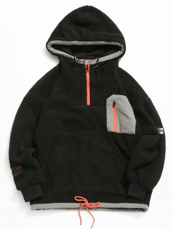 fashion Colorblock Pocket Vent Zip Pullover Hooded Teddy Jacket - BLACK L