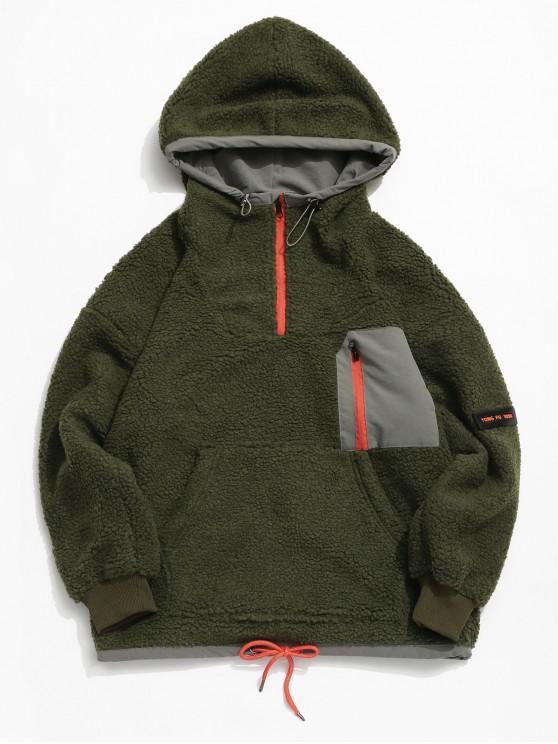 buy Colorblock Pocket Vent Zip Pullover Hooded Teddy Jacket - DEEP GREEN 2XL