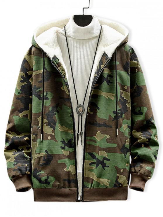 latest Camouflage Print Plush Fluffy Hooded Jacket - THREE SAND CAMOUFLAGE L