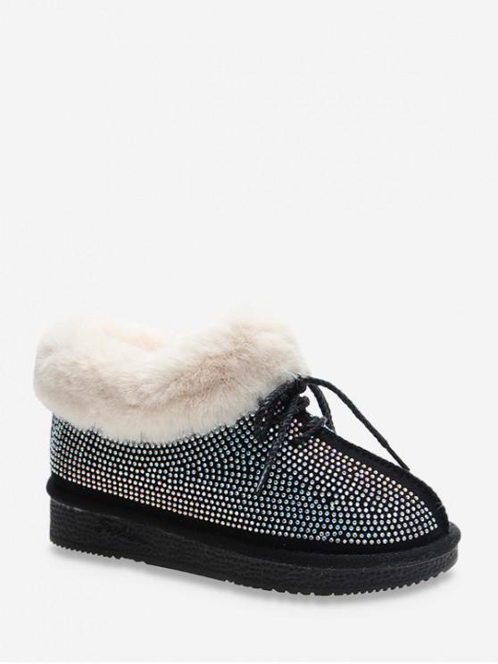 水鑽人造毛皮裝飾綁帶雪地靴 - 黑色 歐盟38