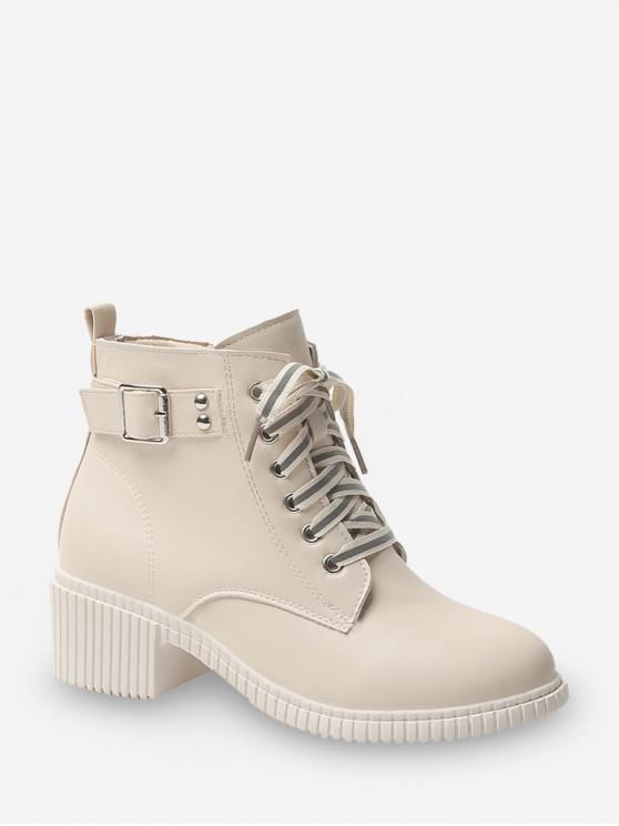 環扣系帶皮革貨物靴 - 白色 歐盟38
