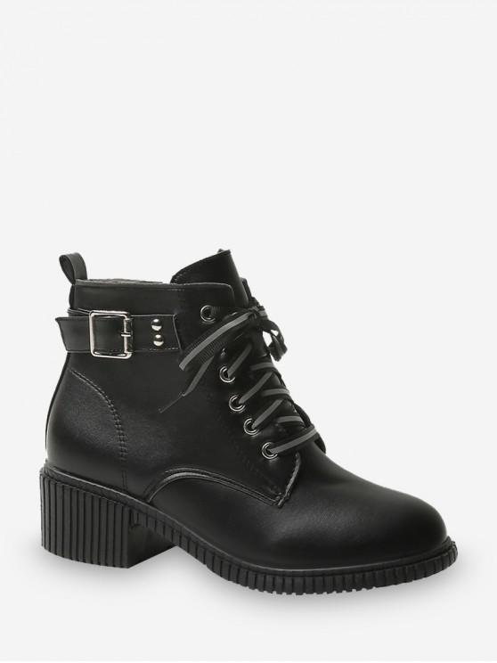 sale Buckled Lace Up Leather Cargo Boots - BLACK EU 35