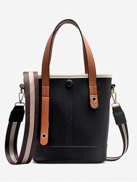 trendy Color-blocking PU Leather Handbag - BLACK