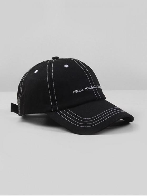 online Letters Embroidered Adjustable Baseball Cap - BLACK