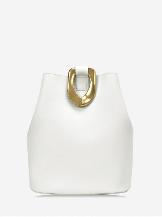 fashion Metal Accent Leather Bucket Bag - MILK WHITE
