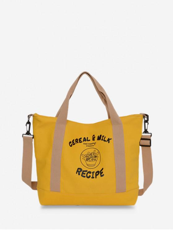 fancy Canvas Character Pattern Big Tote Bag - YELLOW