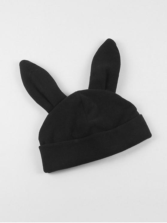 outfit Winter Rabbit Ears Knitted Hat - BLACK